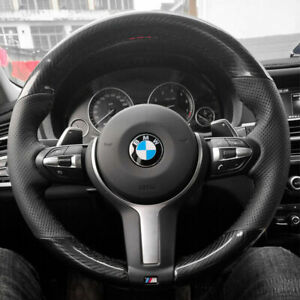 Carbon Fiber pu Leather Steering Wheel Stitch On Wrap Cover For Bmw X5 F15 13 18
