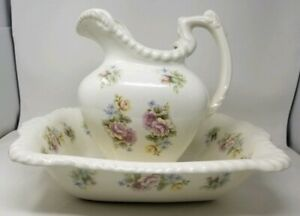 Vintage Rataud S Limited Pitcher And Wash Basin England Stoke On Trent
