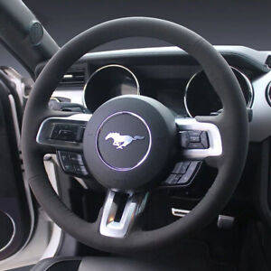 All Black Suede Leather Steering Wheel Stitch on Wrap Cover For Ford Mustang