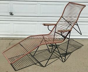 Mid Century Modern Iron And Cord Patio Lounge Chair In The Manner Of Allan Gould