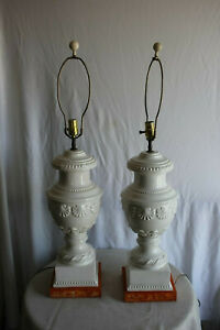 Large Pair Of Carved White Porcelain Table Lamps