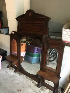 Antique Overmantle Over Mantle Shelf Oak Shelves And Beveled Mirrors Gorgeous