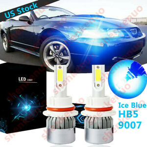 Ice Blue 9007 Hb5 Led Headlight Bulb High Low Beam C6 For Ford Mustang 1990 2004
