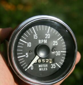 Stewart Warner 3 3 8 Truck 3500 Rpm Mechanical Tachometer And Odometer Vintage