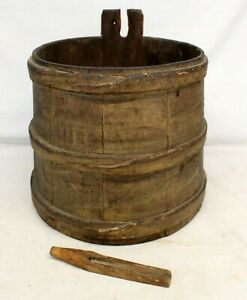 Antique Primitive Sap Maple Syrup Bucket Finger Bands Country Farm Rustic Decor