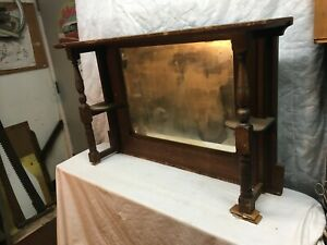 Vintage Wood Buffet Shadow Box Mirror Back Bar Shelf 1900s Primitive Farm Cottag