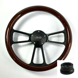 14 Black Steering Wheel Dark Wood Wrap Chevy Ss Horn Button Adapter A01