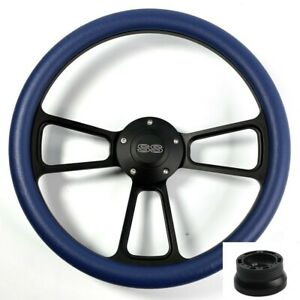 14 Black Steering Wheel royal Blue Wrap Chevy Ss Horn Button Adapter A01