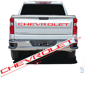 Red Chevrolet Letters Inserts Tailgate Emblem Decal For Silverado 2019 2020