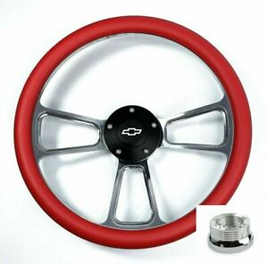 14 Polished Steering Wheel Red Half Wrap Chevy Horn Button Adapter