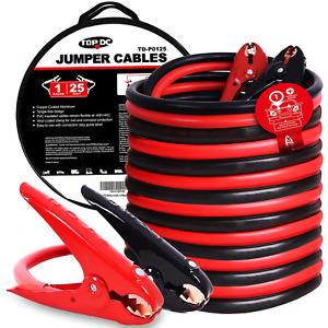 Topdc Jumper Cables 1 gauge 25 ft 700amp Heavy Duty Booster Cables W Carry Bag