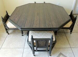 Antique Vtg Asian Hand Carved Inlaid Low Dining Coffee Table 4 Chairs Stool Set