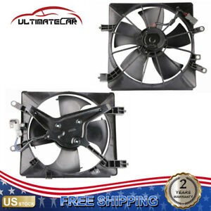 Set 2 Radiator Cooling Fan W Ac Condenser Assy For 01 05 Honda Civic Left