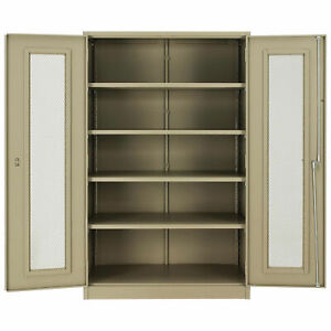 Unassembled Storage Cabinet With Expanded Metal Door 48x24x78 Tan Lot Of 1