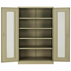 Assembled Storage Cabinet With Expanded Metal Door 48x24x78 Tan Lot Of 1