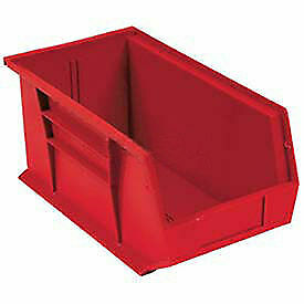 Plastic Stacking Bin 5 1 2 X 14 3 4 X 5 Red Lot Of 12