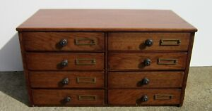 Antique Oak 8 Draw Jewelry Dental Sewing Library File Cabinet