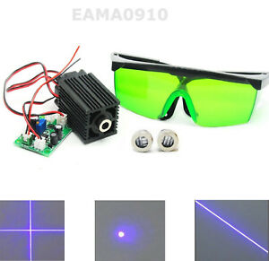 Powerful Dot Line Cross 405nm 200mw 12v Violet blue Laser Module W 450nm Goggles