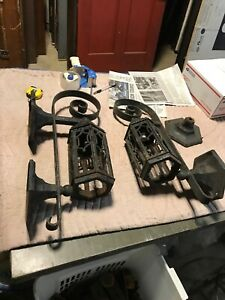 Pair Antique Cast Iron Exterior Wall Sconce As Found 24 X 11 D X6 75 Backplate