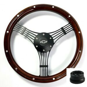 14 Black Banjo Steering Wheel Wood W Aluminum Chevy Horn Button Adapter