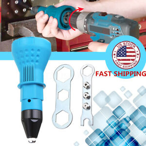 Electric Blind Rivet Nut Gun Cordless Drill Adapter Riveting Tool Insert Set Uk