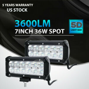 1x 7 36w Pods Led Work Light Bar Flood Offroad Fog Lamp 4wd Suv Pickup Van