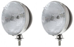 Pair Black Dietz 7 Headlight Buckets With Sealed Beam Bulbs For Hot Rods