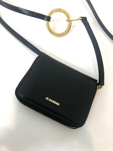 JIL SANDER Mini Crossbody Bag with Hoop Detail in Black $408