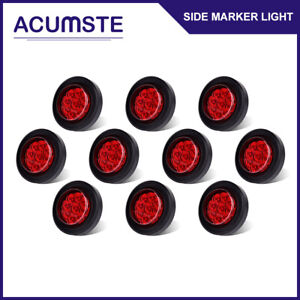 10x Round 2 Red 9 Led Mount Trailer Clearance Side Marker Light W Grommet Wire