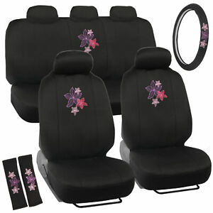 Seat Covers For Car Suv Auto Van Truck Pink Purple Flowers Embroidered Desig