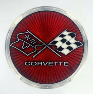 Chevy C3 Corvette Checkered Crossed Flags Emblem Steel Metal Sign 12 X12