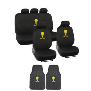 Tweety Bird Car Seat Covers W 2 Front All Weather Floor Mats 11pc Set
