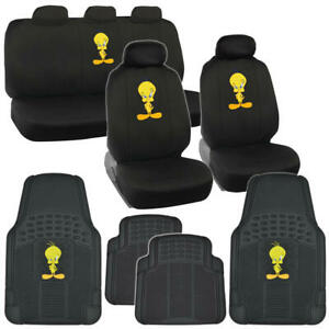 Tweety Bird Car Seat Covers Rubber All Weather Floor Mats Full Set