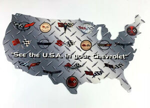 Chevy Corvette Generations Crossed Flags Emblem Usa Steel Metal Sign 24 X14