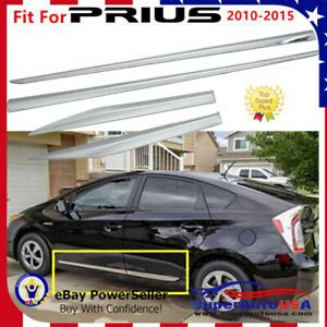 For 10 15 Toyota Prius Chrome Stainless Steel Door Side Body Moldings Cover Trim