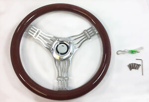 14 Banjo Aluminum Steering Wheel Real Wood Wrap 5 Holes Horn Button Adapter