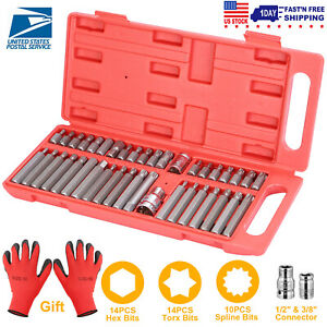 Hex Bit Set 40pcs Socket Set Torx Spine Crv Combination Bits 3 8 1 2 gloves
