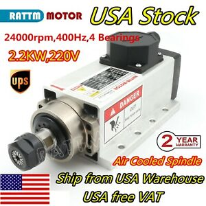 Us 2 2kw Er20 Air Cooled 220v Square Spindle Motor 24000rpm Cnc Router Engraving