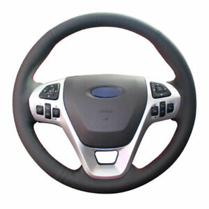 Top Leather Steering Wheel Hand Stitch On Wrap Cover For Ford Explorer Edge