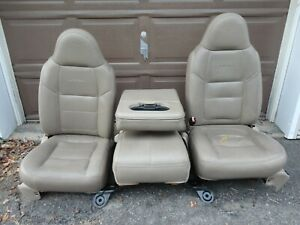 99 04 Ford Super Duty Lariat Leather Front Bucket Jump Seats Console Heated