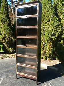 Vtg Gunn 7 Tier 9 Piece Barrister Type Glass Wood Book Case Very Good