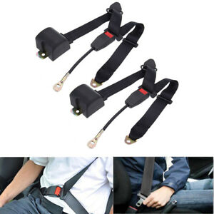 Ridgeyard 2 Set 3 Point Car Seat Belt Retractable Safety Travel Belt Adjustable