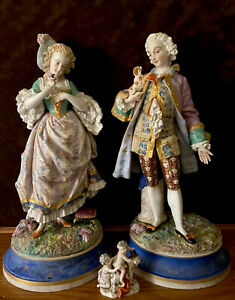 Antique French Limoges Abel Monvoisin Pair Of Bisque Figurines Extremely Rare