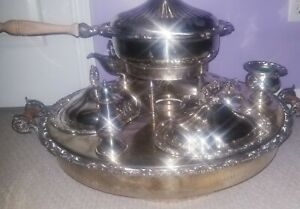 English Victorian Silver Plate Lazy Susan Server With Heater Sheffield