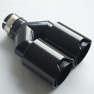 100 Carbon Fiber Dual Tip Exhaust Muffler Pipe 2 5 Clamp Black Steel For Bmw M
