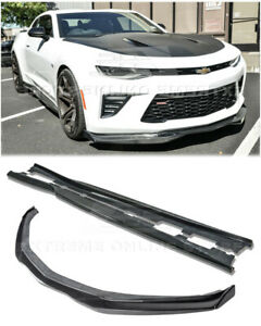 Carbon Fiber Front Lip W End Caps Side Skirts For 16 up Camaro Ss T6 Style