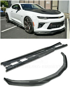 Carbon Fiber Front Lip Side Skirts For 16 up Camaro Ss Lt Ls Rs T6 Style