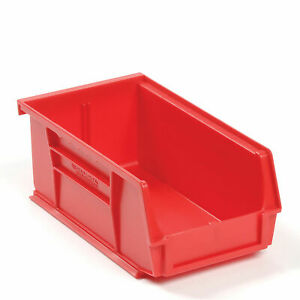 Plastic Storage Bin Small Parts 4 1 8 X 7 3 8 X 3 Red Lot Of 24