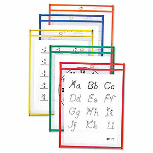 Reusable Dry Erase Pockets 9 X 12 Assorted Primary Colors 25 box 40620 40620
