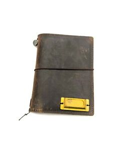 Passport Size Brown Midori Travelers Notebook With Pockets Used Great Condition